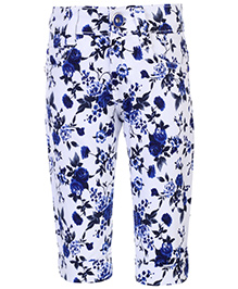 Babyhug Capri Floral Print - White And Navy