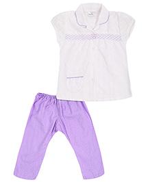 Babyhug Short Sleeves Night Suit - Purple And White
