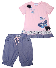 Nauti Nati Top And Shorts Set Butterfly Design - Pink And Blue