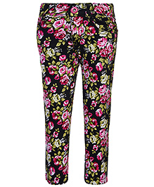 Babyhug Full Length Stretch Trouser Floral Print - Pink And Black