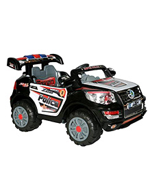 Marktech Battery Operated Ride On Police Car - Black And Whit