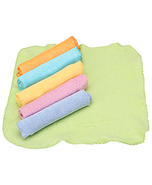 Pink Rabbit Face Towel Solid Color Newborn Set Of 6 - Multicolor