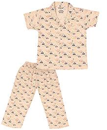 Doreme Short Sleeves Night Suit Vehicle Print - Light Peach