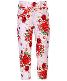 Babyhug Full Length Pant Floral Print - White And Red