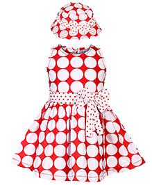 N-XT Sleeveless Frock With Bucket Cap Big Dot Print - Red
