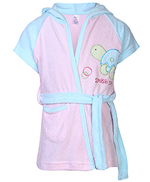 Pink Rabbit Hooded Bathrobe Tortoise Embroidery - Pink And Sky Blue