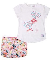 Nauti Nati Half Sleeve Top And Shorts Set With Print - Pink