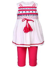 Nauti Nati Sleeveless Gypsy Top With Leggings - Pink And White