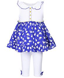 Nauti Nati Sleeveless Printed Tunic With Leggings - Blue And White