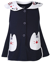 Doreme Peter Pan Collar Frock Kitty Patch - Navy And White