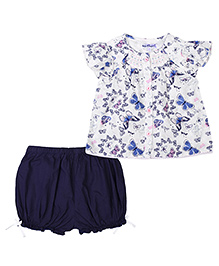 Nauti Nati Cap Sleeves Top And Shorts With Print - Navy Blue And White