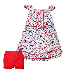 Nauti Nati Cap Sleeves Frock Floral Print With Bloomer - White And Red