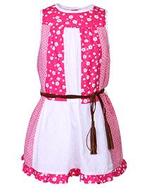 Nauti Nati Sleeveless Dress with Floral Print - Pink And White