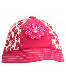 Babyhug Bucket Cap Strawberry Print - Dark Pink