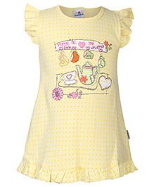 Child World Flutter Sleeves Frock Tea Set Embroidery - Yellow