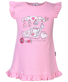 Child World Flutter Sleeves Frock Tea Set Embroidery - Pink