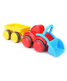 Flexi Tractor With Trailer - Red Yellow And Blue