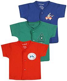 Doreme Half Sleeves Vest Set of 3 - Blue Orange And Green