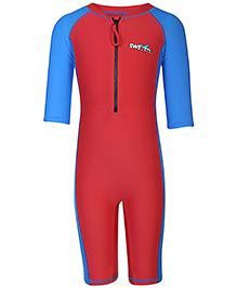 PineHill Half Sleeves Legged Swimsuit - Red
