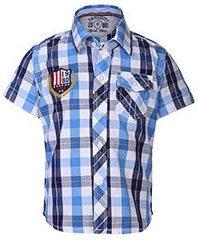 Gini & Jony Half Sleeves Shirt Check Pattern - White And Blue