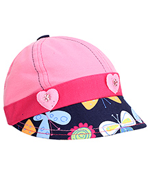 Babyhug Summer Cap With Elastic Band Heart Applique - Pink And Navy Blue
