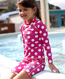 Pinehill Full Sleeves Two Piece Swimsuit Polka Dot Pattern - Pink