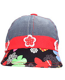 Babyhug Summer Cap With Elastic Band Flower Applique - Grey And Red