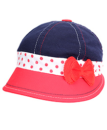 Babyhug Summer Cap With Elastic Band Bow Applique - Navy Blue And Red