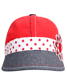 Babyhug Summer Cap With Elastic Band Floral Applique - Grey And Red