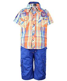 Noddy Half Sleeves Shirt And Shorts Check Pattern - Orange And Royal Blue
