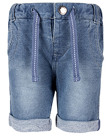 Fox Baby Denim Drawstring Bermuda Shorts - Light Blue