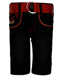 Noddy  Solid Shorts With Belt My Jeans Co 91 Patch - Black