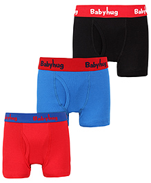Babyhug Briefs Set Of 3 - Red Blue And Black