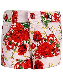 Babyhug Shorts Floral Print - Cream And Red