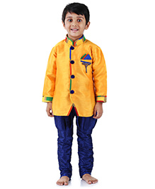 Babyhug Kurta And Jodhpuri Pajama Set With Brooch - Yellow