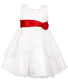 Babyhug Party Wear Sleeveless Frock With Floral Embellishment - White And Red
