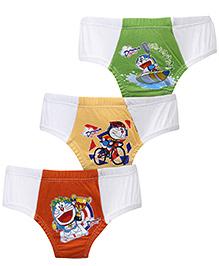 Doraemon Printed Briefs Set Of 3 - Orange Yellow Green