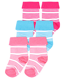 Cute Walk Socks Stripes Design Set Of 3 - Pink Sky Blue And Fuchsia