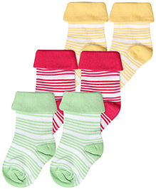 Cute Walk Striped Design Ankle Socks Pack Of 3 - Light Green,Yellow And Fuchsia