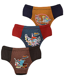 Oggy and Cockroaches Printed Brief Set Of 3 - Grey Navy Blue Maroon