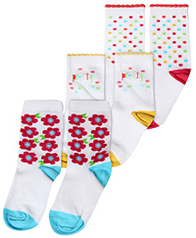 Cute Walk Floral Design Socks Pack Of 3 - White And Multicolor