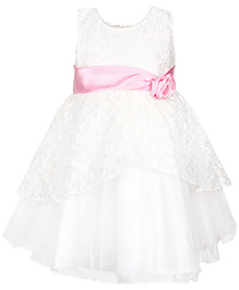 Babyhug Party Wear Sleeveless Frock With Floral Embellishment - White And Pink