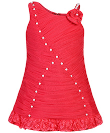 Babyhug Sleeveless Party Dress Pearl Embellishment - Red