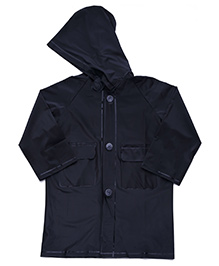 Babyhug Hooded Plain Raincoat Economy - Black