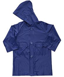Babyhug Hooded Plain Raincoat Economy - Blue