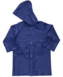 Babyhug Hooded Plain Raincoat Economy - Blue