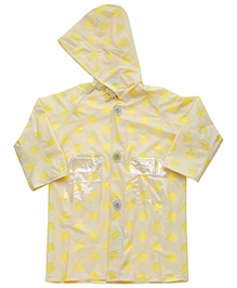 Babyhug Hooded Raincoat Economy Apple Print - Yellow