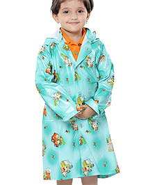 Babyhug Hooded Raincoat Printed Economy - Aqua Blue