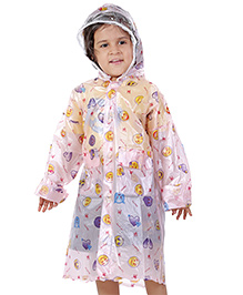Babyhug Hooded Printed Raincoat Galaxy - Pink