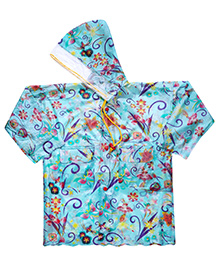 Babyhug Hooded Floral Print Raincoat Galaxy - Green